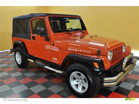 Orange Jeep Rubicon 2005 Impact Orange Jeep Wrangler Rubicon 4x4 35055064