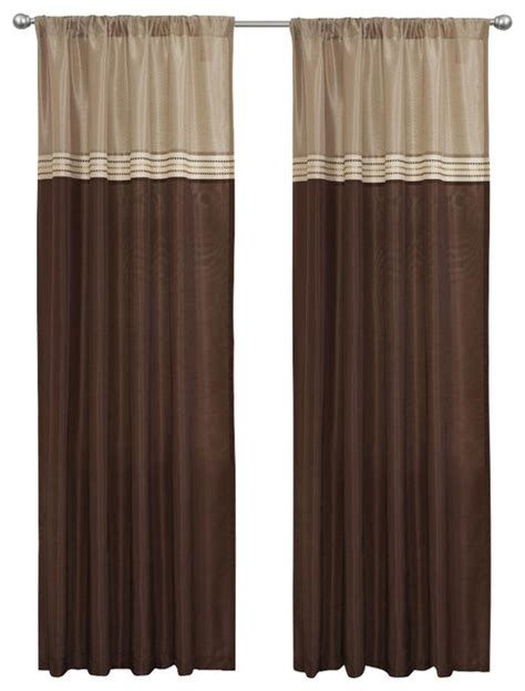 brown window curtains terra beige brown window curtain set of 2 contemporary