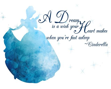 """Cinderella Watercolor Silhouette with Quote 10"""" x 8"""""""