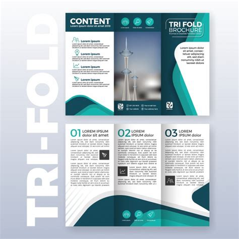 booklet layout software business tri fold brochure template design with turquoise