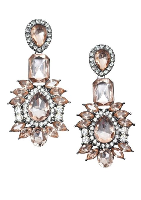 vintage style pink statement earrings happiness boutique
