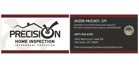 home inspection business cards templates precision home inspection internachi marketing