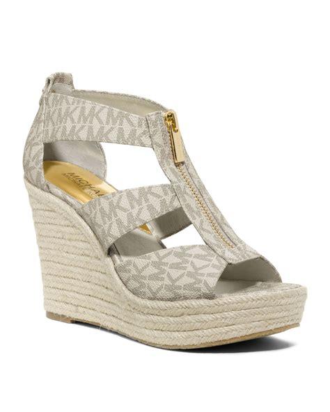 michael kors damita wedge sandal michael kors damita logo zipper wedge sandal in beige