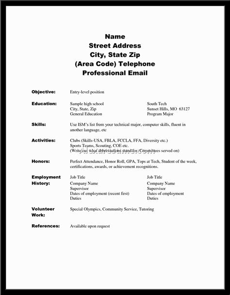 High School Senior Resume by College Resume Exles For High School Seniors Resume