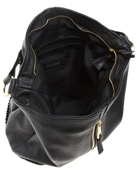 Slouch Bag Hat river island zip front slouch bag in black lyst