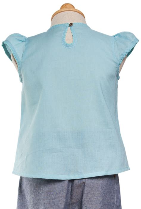 puff sleeves cotton top blue