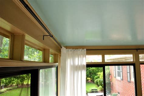 curtains sunroom how to hang corner curtain rods painting the ceiling