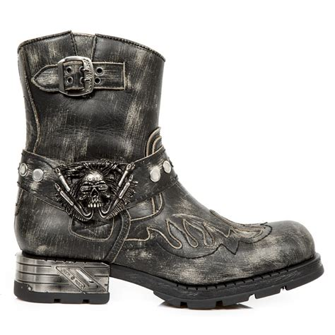 Grey Python Pattern Motorcycle Boots W Flames