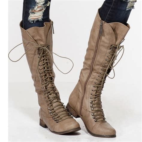 men s tall lace up motorcycle boots sold tall beige lace up boots 9 from kristi s closet on