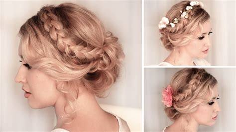 prom hairstyles for medium length hair with braids braided updo hairstyle for christmas holidays new year