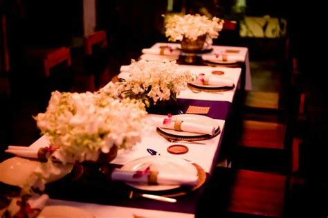 dinner table setting for a thailand wedding celebration at
