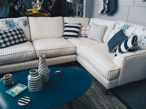 navy striped sofa at dfs for the joules dfs collaboration sneak peek