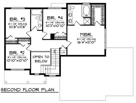 second floor plan 2nd story landing overlooking entry below 89355ah 2nd floor master suite cad available pdf
