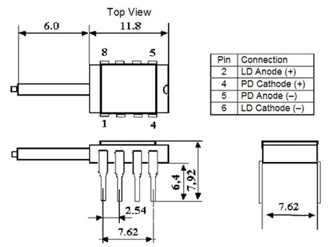 pin configuration of diode fiber coupled laser diode at 1300nm