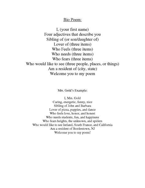 bio poem template best photos of bio poem exles poetry bio poem