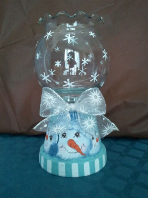 clay pot crafts for large snowman themed candle holder on sale in my craft