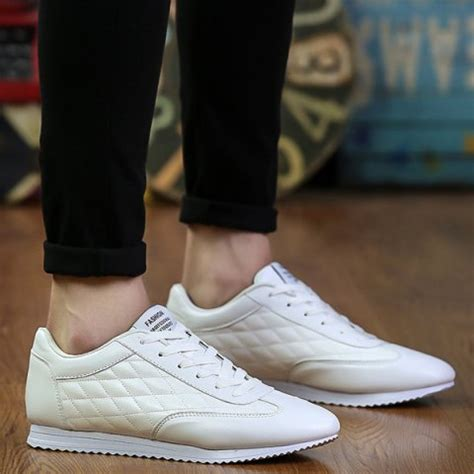 solid white athletic shoes white fashionable checked and solid color design athletic