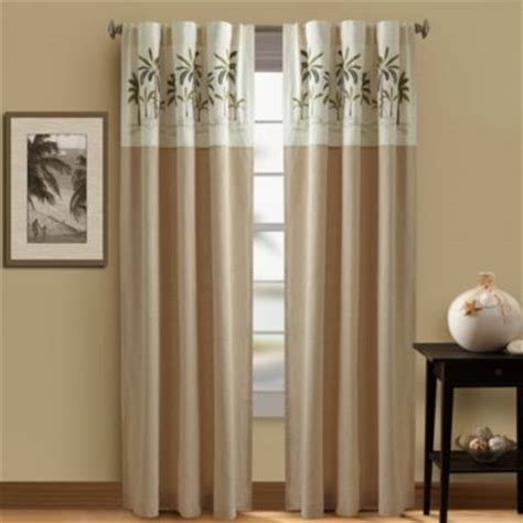 tree window curtains buy palm tree valance in ivory from bed bath beyond