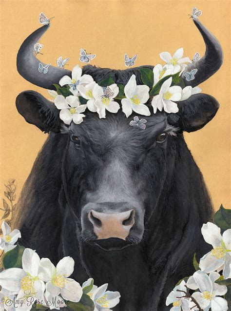 Ferdinand The Bull And His Flowers 8x10 Watercolor Ferdinand The Bull
