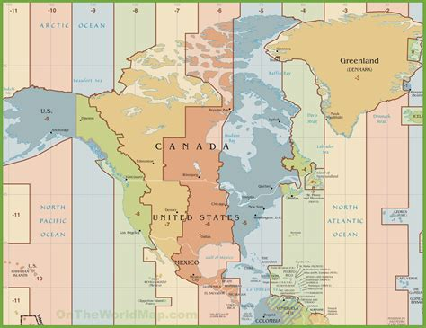 times zones in usa with the map america time zone map