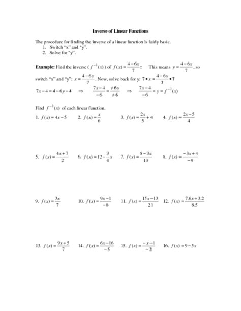 Inverses Of Functions Worksheet by Worksheet Inverse Functions Worksheet Caytailoc Free