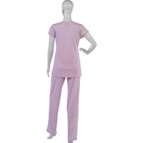 Pink Set Top Trousers M L Xl 19046 womens spotty pyjamas style top bottoms