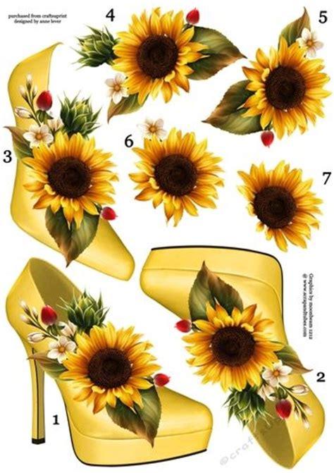 Decoupage Shoebox - stunning shoe sunflower decoupage sheet craftsuprint