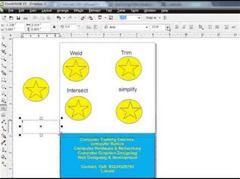 corel draw x5 training in urdu coreldraw x5 trim intersect weld and simplify tutorial