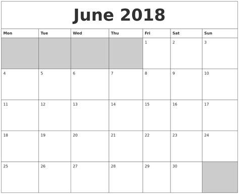 printable calendar blank 2018 june 2018 blank printable calendar