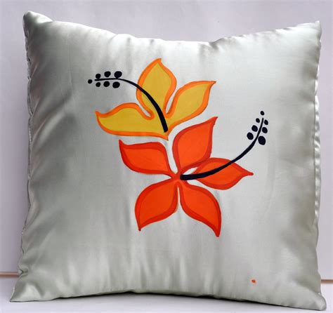 Fabric Painting Pillow Covers Designs by Handpainted Cushion Cover Flowers Shopping