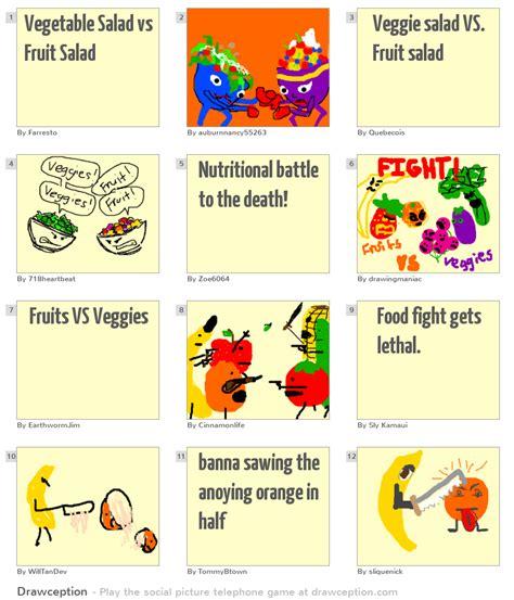 vegetables vs vegetable salad vs fruit salad