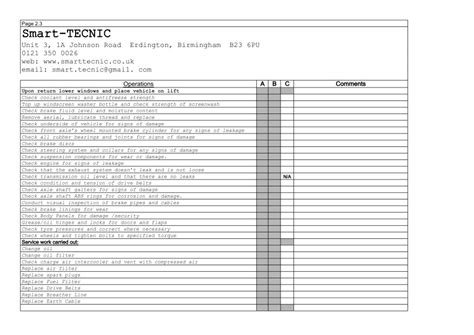 car service sheet template servicing information and prices smart tecnic