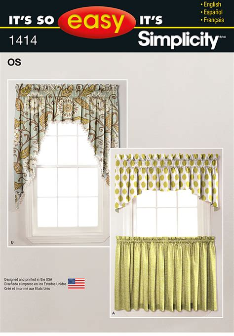 easy sew curtain patterns simplicity 1414 it s so easy valances and cafe curtains