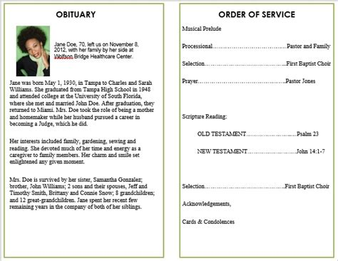 obituary word template floral 5 funeral phlets