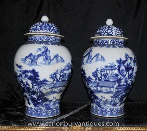 blue and white jars pair blue and white ming porcelain urns vases jars