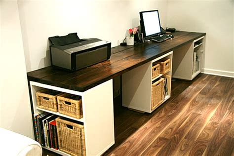 large diy desk with storage shelves decoist