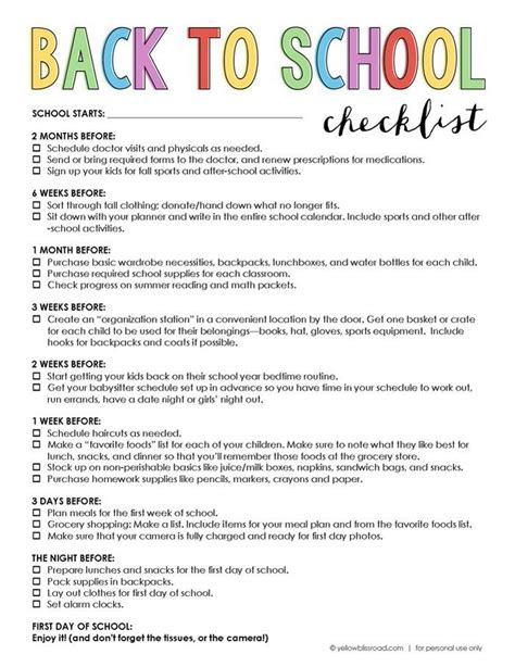 6 back to school tutorials and free printables the diy mommy back to school checklist prepare before the first day