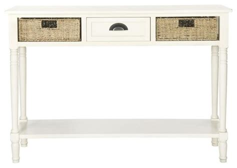 White Console Table With Storage by Safavieh Winifred Wicker Console Table With Storage White