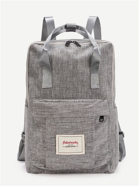 Handle Canvas Backpack patch detail handle canvas backpack shein sheinside