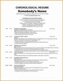 Resume Sle Chronological Format 5 Chronological Resume Sle Resume Reference