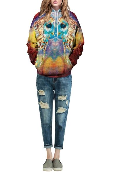 Print Hooded Pullover by Vintage Fish Print Hooded Pullover Sweatshirt