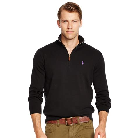 Hoodie Jumper Polos Black Jmp3 polo ralph pima cotton half zip sweater in black for polo black lyst