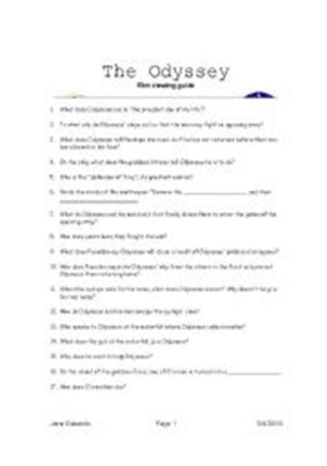 The Odyssey Worksheet Answers worksheets the odyssey guide