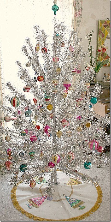 silver tinsel christmas tree with color wheel top vintage tree decorations celebration all about