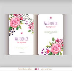 florist business cards beautiful watercolor flower business cards vector set 05