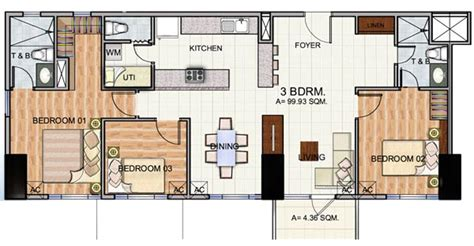 floor plan with balcony the trion towers condominium bonifacio global city