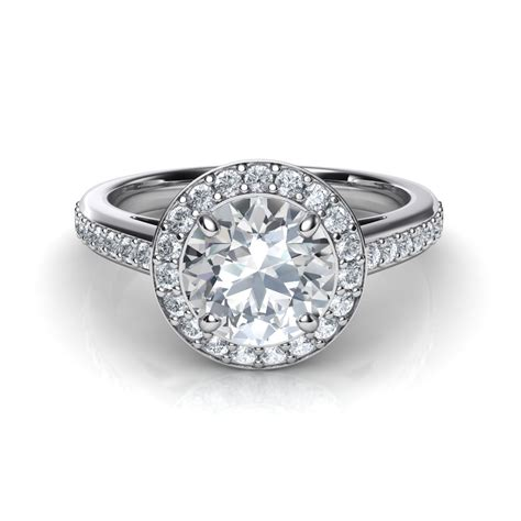 engagement rings round halo pave diamond engagement ring