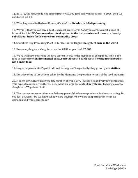 Answers To Food Inc Worksheet by Food Incmoviewkst