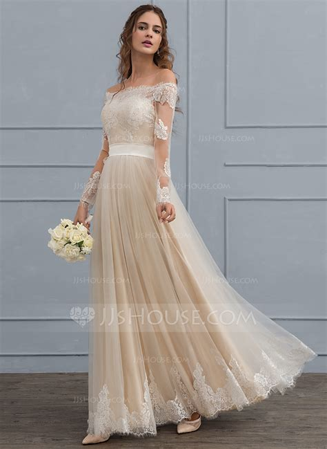 Shoulder Lace Wedding Dress a line princess the shoulder floor length tulle lace