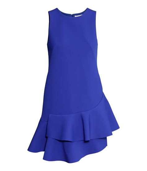 Sleeveless Frilled Detail Dress h m sleeveless frilled dress in blue lyst